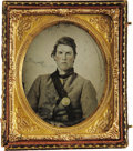 Military & Patriotic:Civil War, Sixth Plate Ruby Ambrotype of a Young Confederate Soldier in Columbus Jacket, ca. 1860s....