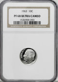 Proof Roosevelt Dimes: , 1963 10C PR68 Deep Cameo NGC. NGC Census: (439/116). PCGSPopulation (374/186). Numismedia Wsl. Price for NGC/PCGS coin in...