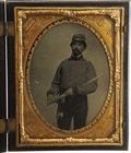 Military & Patriotic:Civil War, Quarter Plate Cased Tintype: Confederate Artillery Lieutenant, ca. 1860s ...