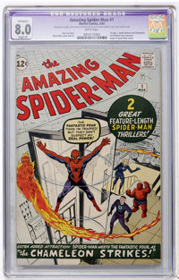 The Amazing Spider-Man #1 (Marvel, 1963) CGC Apparent VF 8.0 Slight (P) White pages