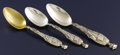 Silver & Vertu:Flatware, A GROUP OF THREE AMERICAN SILVER FIGURAL SPOONS. Watson Company, Attleboro, Massachusetts, circa 1904. Marks: (H in flag), ... (Total: 3 Items)