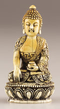 Asian:Chinese, PROPERTY FROM A DALLAS PRIVATE COLLECTION. A CHINESE IVORY FIGUREOF BUDDHA. 18th-19th Century. 3-7/8 inches (9.8 cm) high...