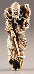 Asian:Japanese, PROPERTY FROM A DALLAS PRIVATE COLLECTION. A LARGE JAPANESE IVORYNETSUKE . 18th-19th Century. 4-3/8 inches (11.1 cm) high...