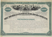 Michigan Central Railroad Bond Signed by Cornelius Vanderbilt. One page, oblong folio, New York, March 10, 1881. Firs