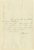 Autographs:U.S. Presidents, Abraham Lincoln Manuscript Letter Signed...