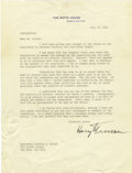 Autographs:U.S. Presidents, Harry S. Truman Typed Letter Signed...