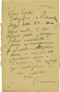 Autographs:Artists, Giacomo Puccini Autograph Letter Signed. One page (includingintegral address leaf), 8vo, Torre del Lago, Tuscany, November ...