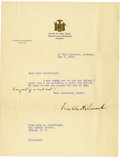 Autographs:U.S. Presidents, Franklin D. Roosevelt: Typed Letter Signed as New York Governorwith Holographic Addition....