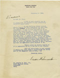 Autographs:U.S. Presidents, Franklin D. Roosevelt: Typed Letter Signed with HolographicNotation as New York Governor....