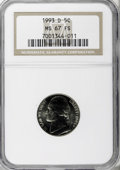 Jefferson Nickels, 1993-D 5C MS67 Full Steps NGC. NGC Census: (7/0). (#84131)...