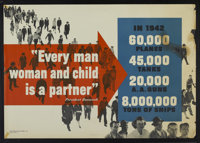 "WWII Propaganda Poster (War Production Board, 1942). Poster (28"" X 40"") ""Every Man Woman and Child Is A P..."