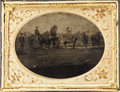 Photography:Tintypes, Cased Quarter Plate Tintype of Federal Covered Wagon....