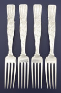 Silver & Vertu:Flatware, A SET OF FOUR AMERICAN SILVER DINNER FORKS. Tiffany & Co., New York, New York, circa 1872. Marks: TIFFANY & CO., STERLING,... (Total: 4 Items)