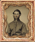 Photography:Tintypes, Cased Ninth Plate Tintype of Connecticut Soldier....