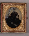 Photography:Tintypes, Cased Sixth Plate Tintype of Three Union Infantry JuniorOfficers....