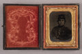 Photography:Tintypes, Cased Ninth Plate Tintype of Armed New Yorker,...