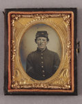 Photography:Tintypes, Cased Ninth Plate Tintype of Wounded Union Soldier Back on Duty....