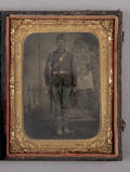 Photography:Tintypes, Cased Quarter Plate Tintype of Identified Armed Union Soldier....