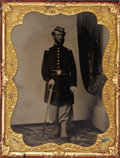 Photography:Tintypes, Cased Quarter Plate Tintype of Union Chasseur Lieutenant....