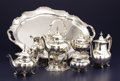 Silver Holloware, American:Tea Sets, AN AMERICAN SILVER SIX-PIECE TEA AND COFFEE SERVICE WITH TRAY. Reed& Barton, Taunton, Massachusetts, 1951. Marks: REED &... (Total: 6 Items)