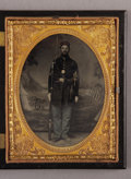 Photography:Tintypes, Cased Quarter Plate Tintype of Armed Union First Sergeant....