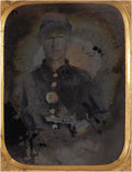 Photography:Ambrotypes, Identified Cased Ninth Plate Ambrotype of Armed PennsylvaniaSoldier....