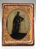 Photography:Tintypes, Quarter Plate Tintype of Double-Armed Union Cavalryman....