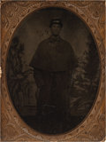 Photography:Tintypes, Quarter Plate Tintype of Union Soldier in Caped Overcoat....