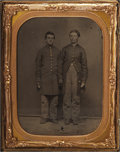 Photography:Tintypes, Cased Quarter Plate Tintype of Two Wounded Union Soldiers....