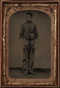 Photography:Tintypes, Cased Sixth Plate Tintype of Union Cavalry Trooper....