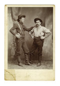 Western Expansion:Cowboy, Photograph of Two Cowboys with Ivory Handle Pistols, Amarillo,Texas, ca. 1880s....