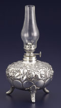 Silver Holloware, American:Other , AN AMERICAN SILVER KEROSENE LAMP. Gorham Manufacturing Co.,Providence, Rhode Island, 1886. Marks: (lion-anchor-G),STERLI...