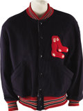 Baseball Collectibles:Uniforms, 1940's-50's Boston Red Sox Game Worn Warm-up Jacket. The days ofTed Williams, Dom DiMaggio and Johnny Pesky are vividly re...