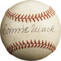 Autographs:Baseballs, Circa 1950 Connie Mack Single Signed Baseball, PSA NM 7. The unique styling of this OAL (Harridge) sphere dates its birth t...