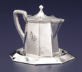 Silver Holloware, American:Pitchers, AN AMERICAN ARTS & CRAFTS SILVER SYRUP PITCHER AND UNDER PLATE.Lebolt & Co., Chicago, Illinois, circa 1915. Marks: (L with ...(Total: 2 Items)
