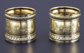 Silver Holloware, American:Napkin Rings, A CASED PAIR OF AMERICAN SILVER GILT NAPKIN RINGS. GorhamManufacturing Co., Providence, Rhode Island, 1884. Marks:(lion-an...