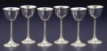 Silver Holloware, American:Other , A SET OF SIX AMERICAN ARTS & CRAFTS SILVER WINE GOBLETS. Lebolt& Co., Chicago, Illinois, circa 1915. Marks: L, HANDBEATE... (Total: 6 Items)