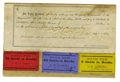 """Military & Patriotic:Indian Wars, Very Rare Post Trader Pay Table with Three """"Good-For"""" Paper Tokens,ca. 1870s. ..."""
