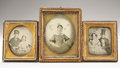 Photography:Ambrotypes, Cased Sixth Plate Ambrotype of Pre-War Officer and Two Civilian Ambrotypes.... (Total: 3 Items)
