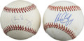 Autographs:Baseballs, Manny Ramirez & Carlos Baerga Single Signed Baseballs Lot of 2.Two of the hottest bats in the modern game provide 9+/10 bl...
