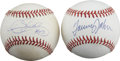 Autographs:Baseballs, Tommy John & Dennis Eckersley Single Signed Baseballs Lot of 2.Two of the top pitching stars of their day provide 9/10 or ...