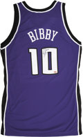 Basketball Collectibles:Uniforms, Mike Bibby Game Worn and Signed Sacramento Kings Jersey and Shorts.Purple knit Sacramento Kings jersey shows strong wear, ...