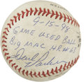 Autographs:Baseballs, Dave Parker Single Signed Baseball from McGwire's 63rd Home RunGame. On Sept. 15, 1998, Mark McGwire stepped to the plate ...