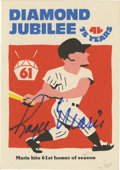 Autographs:Sports Cards, Roger Maris Single Signed Baseball Card. In the final game of the regular season of 1961, Roger Maris attained immortality b...