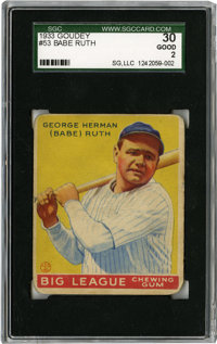 1933 Goudey Babe Ruth #53 SGC Good 30. With four entries in the 1933 Goudey baseball issue, the Sultan of Swat Babe Ruth...