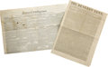 Miscellaneous:Ephemera, Two Early Newspapers.... (Total: 2 Items)
