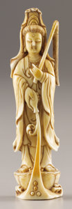 Asian:Chinese, PROPERTY FROM A DALLAS PRIVATE COLLECTION. A CHINESE IVORY FIGUREOF GUANYIN. Qing Dynasty, 1644-1911. 1-7/8 (4.7 ...