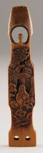 Asian:Japanese, PROPERTY FROM A DALLAS PRIVATE COLLECTION. A JAPANESE BAMBOOSASHI NETSUKE. 19th Century. Marks: signed Sen'...