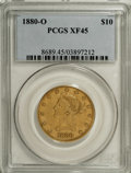 Liberty Eagles: , 1880-O $10 XF45 PCGS. This date is not often encountered in anygrade. The present Choice XF example survives from a mintag...