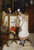 Fine Art - Painting, European:Antique  (Pre 1900), LUIGI SCAFFAI (Italian 1837-1899). The Flirt, Interior Scene. 17-3/8 x 12-3/5 inches (44 x 32 cm). Oil on panel. Signed ...
